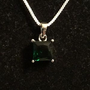"""STAMPED 925 SILVER 16"""" EMERALD PENDANT NECKLACE"""